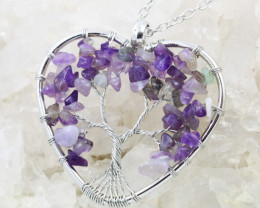 Amethyst Handmade silver wire wrap Tree Of Life Pendant CCC 1079