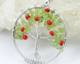 Peridot Bead Handmade silver wire wrap Tree Of Life Pendant CCC 1083