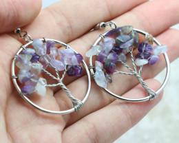 Amethyst Handmade Silver Tree Of Life Earring  CCC 1087