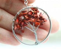 Carnelian Handmade Silver Tree Of Life Earring  CCC 1095