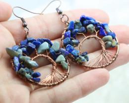Lapis Lazuli Handmade Copper Tree Of Life Earring CCC 1102