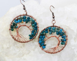 Crysocolla Handmade Copper Tree Of Life Earring CCC 1103