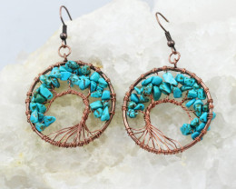 Turquoise Handmade Copper Tree Of Life Earring CCC 1107