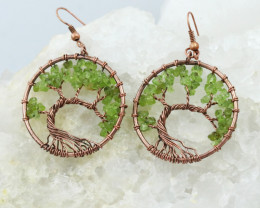Peridot Handmade Copper Tree Of Life Earring CCC 1111