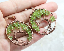Peridot Handmade Copper Tree Of Life Earring CCC 1112