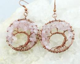 Rose Quartz Handmade Copper Tree Of Life Earring CCC 1121