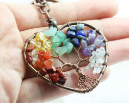 7 Chakra Gemstone handmade copper wrap Tree of life Key ring CCC 1124