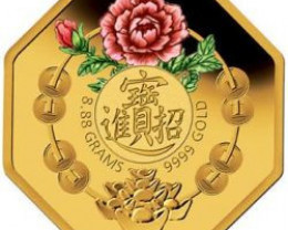 Lucky Good GFortune 2008 Octogonal 99.99% Gold Proof Coin