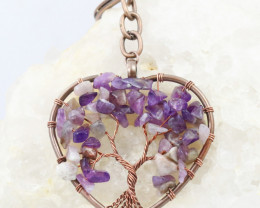 Amethyst handmade copper wrap Tree of life Key ring CCC  1135