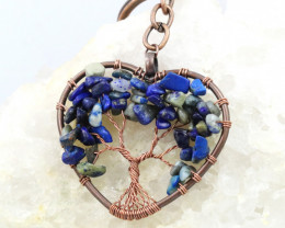 Lapis Lazuli handmade copper wrap Tree of life Key ring CCC  1127
