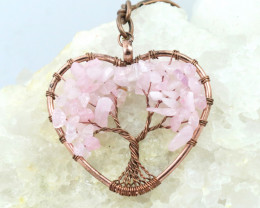 Rose Quartz handmade copper wrap Tree of life Key ring CCC  1131