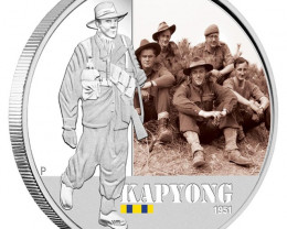 Proof Australian famous Korean Battle Kapyong 2012 1 Oz  pure 99.9% silver