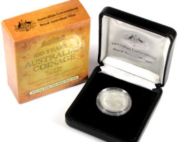 100 years Australian coinage,2010 Proof 99.9% pure silver