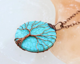 Turquoise handmade copper wrap Tree of Life Pendant CCC  1139