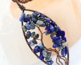 Lapis Lazuli handmade copper wrap Tree of Life Pendant CCC  1149