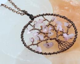 Rose Quartz handmade copper wrap Tree of Life Pendant CCC  1153