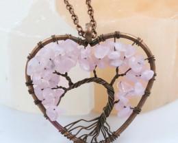 Rose Quartz handmade copper wrap Tree of Life Pendant CCC 1159