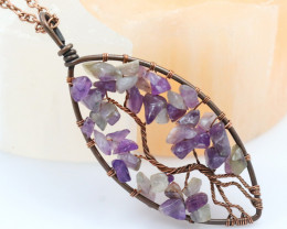 Amethyst handmade copper wrap Tree of Life Pendant CCC  1165