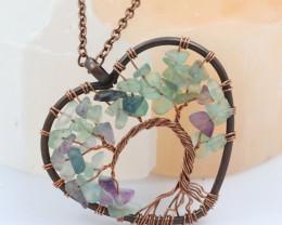 Fluorite handmade copper wrap Tree of Life Pendant CCC  1175