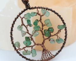 Fluorite handmade copper wrap Tree of Life Pendant CCC  1179