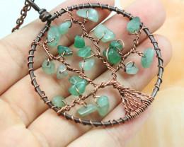Fluorite handmade copper wrap Tree of Life Pendant CCC  1181