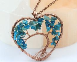 Crysocolla Handmade Copper Tree Of Life Pendant CCC 1183