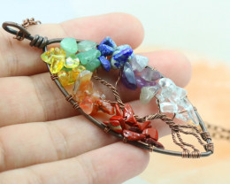 7 chakra Gemstones, Handmade Copper Tree Of life Pendant CCC 1188