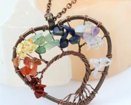 6 Multi Gemstones, Handmade copper wire wrap Tree Of life Pendant CCC 1199