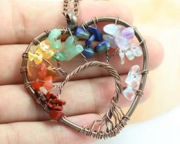 6 Multi Gemstones, Handmade copper wire wrap Tree Of life Pendant CCC 1200