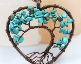 Turquoise handmade copper wrap Tree of Life Pendant CCC 1209