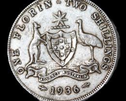 One Australian Florin 1936     .925 Silver  code CCC 1061