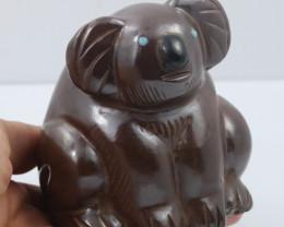 half Kilo koala carved ironstone with opal eyes  Ch 985