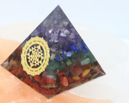 4 cm Seven Chakra Gemstone Orgonite Pyramid  AHA 101