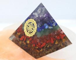 5 cm Seven Chakra Gemstone Pyramid AHA 108