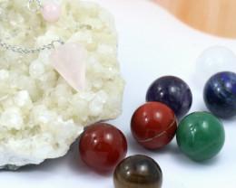 Box Seven Chakra  20 mm  Sphere  Gemstones & pendulum  AHA 145