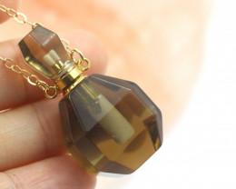 Natural Smokey Quartz Gemstone Bottle Necklace AHA 188