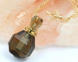 Natural Smokey Quartz Gemstone Bottle Necklace AHA 189