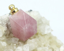 Natural Rose Quartz Faceted Gemstone Perfume  Bottle  AHA 244
