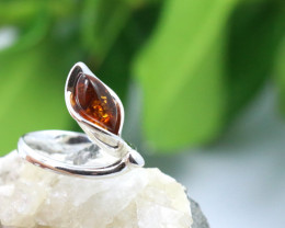 Natural  Baltic Amber Sterling Silver  Ring size T  code GI 110
