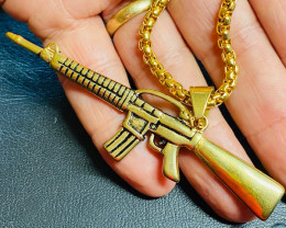 Rifle  -Gold plated Titanium  on  necklace code CCC 1319