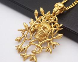 Skulls & snakes  Pendant  -Gold plated Titanium code CCC 1323