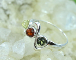 Natural  Baltic Amber Sterling Silver  Ring size L  code GI 112
