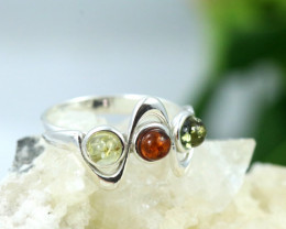 Natural  Baltic Amber Sterling Silver  Ring size N  code GI 114