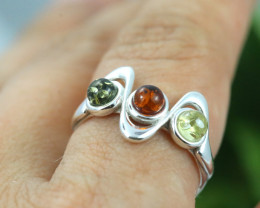 Natural  Baltic Amber Sterling Silver  Ring size N  code GI 115