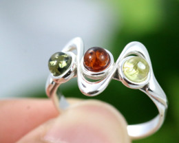 Natural  Baltic Amber Sterling Silver  Ring size P  code GI 118