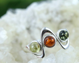 Natural  Baltic Amber Sterling Silver  Ring size T  code GI 122