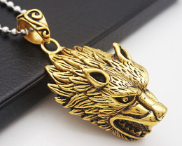 Wild Wolfs Head Pendant  -Gold plated Titanium code CCC 1334