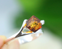 Natural  Baltic Amber Sterling Silver  Ring size L  code GI 124