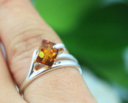 Natural  Baltic Amber Sterling Silver  Ring size N  code GI 127