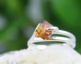 Natural  Baltic Amber Sterling Silver  Ring size P  code GI 130